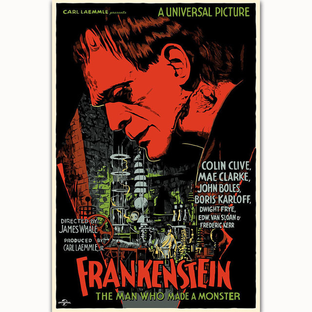 Fx1638 Hot Frankenstein Universal Monsters Boris Karloff Horror Movie Poster Art Silk Light Canvas Home Room Wall Printing Decor