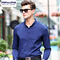 PORT&LOTUS Brand Clothing Mens Casual Blouse Cotton Shirts Solid Thin Long Sleeve Men Shirt Camisa Masculina YT030 87808