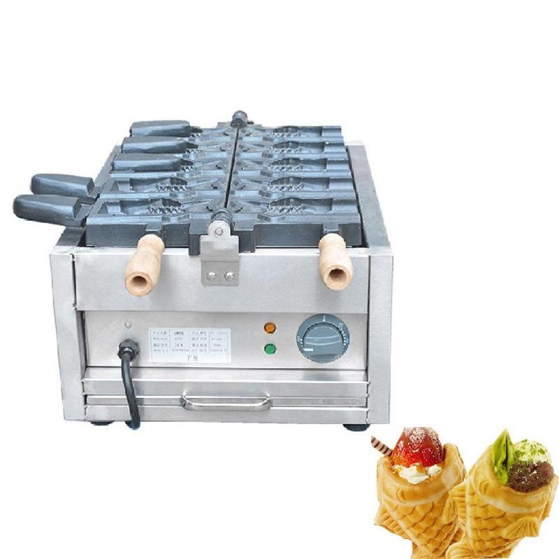 Jamielin Commercial Non Stick 6 Pcs Open Mouth Ice Cream Taiyaki Machine Waffle Cone Maker Iron Maker Machine Baker