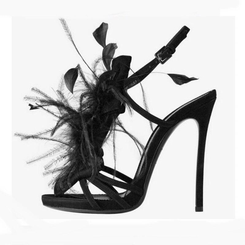 as De Strappie Picture Picture Sexy Cm Décor Femmes Sandales Talons 11 Chaussures As Violet Bleu Catwalk Designers Femme Luxe Plume Noir qrqpHSw