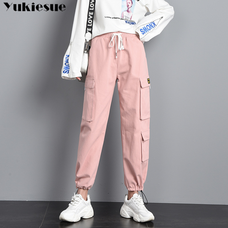 harajuku streetwear women casual harem pants solid pink black pant cool fashion hip hop long trousers capris cargo pants woman