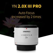 Yongnuo YN 2.0X III PRO 2x Teleconvertidor Enfoque Automático Extender lente de la cámara para Canon EOS EF Lente 2X2 multiplicador efecto
