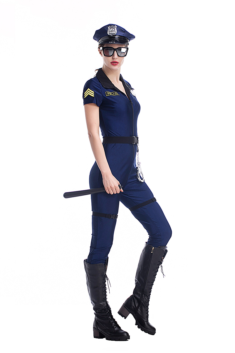 Adult Women Halloween Police Cops Catsuit Costume Sexy -4139
