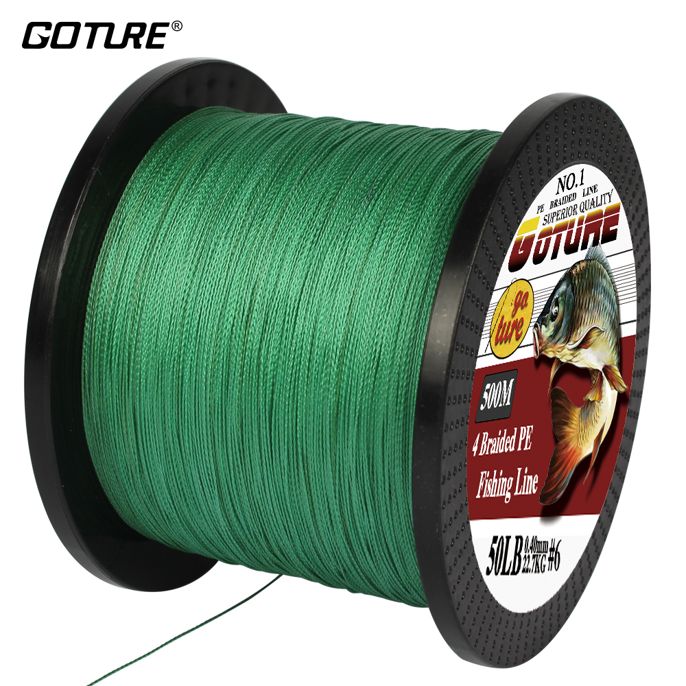 Goture 500M PE Braided Fishing Line 4 Stands Super Strong Multifilament Fishing Lines 12-80LB