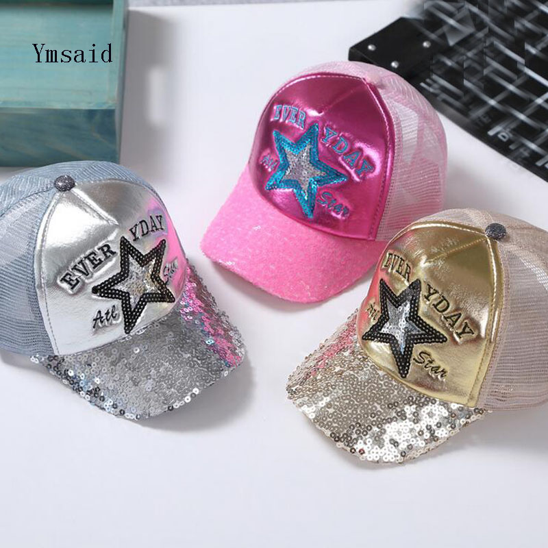 2017 Korean Children Hip Hop Baseball Cap Summer Five-pointed Star Sequins Kids Sun Hat Boys Girls Snapback Caps 2-8 Years russia usa spring summer youth girl sequins leisure sunshade hat mesh campus hat sun hat female sun dance hip hop baseball
