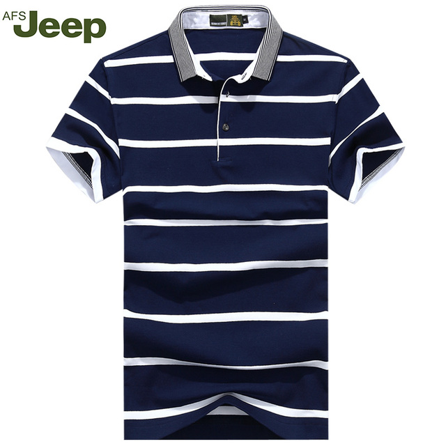 Summer 2016 New Striped Shirts Cozy Thin Men Polo Shirt Cotton AFS JEEP Brand Polo Shirt Lapel Size M-3XL 50