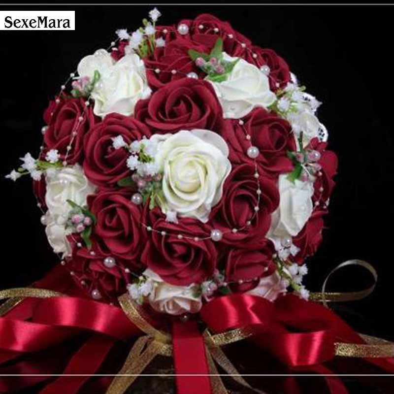Wedding Flowers Cheap Online: Fashion Cheap Burgundy Wedding Bouquet Pink/Red/White