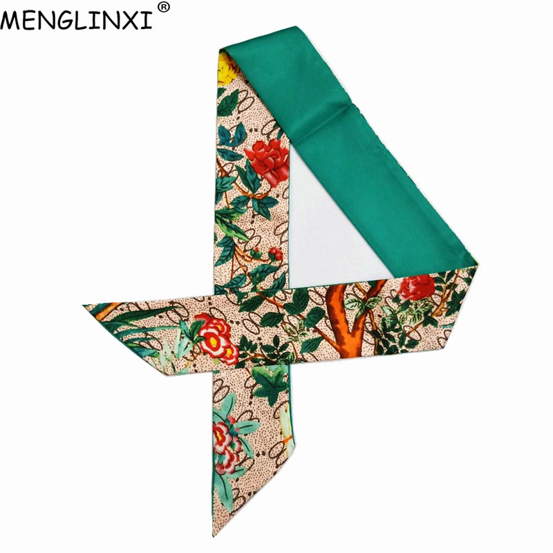 Letter Floral Skinny Scarf 2020 New Brand Silk Scarf For Women Fashion Print Head Scarf Long Handle Bag Scarves Wraps Wholesale