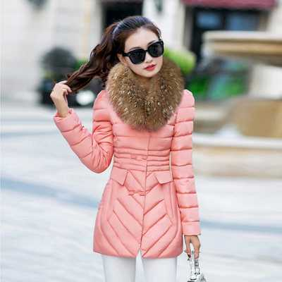 Winter Coat Women 2016 New Fur Collar Long Sleeve Slim Cotton Padded Parkas Fashion Ladies Medium-Long Jackets A4337