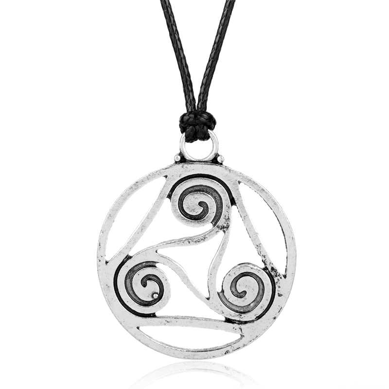 Dongsheng hot vintage viking triskelion pendant necklace spirals dongsheng hot vintage viking triskelion pendant necklace spirals stiles scott lydia cosplay celtic triskele necklace teen wolf in pendant necklaces from aloadofball Image collections