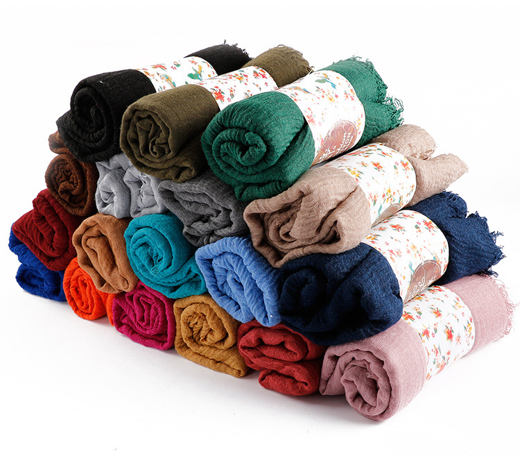 10 ピース/ロット女性のしわクリンクルバブル綿ビスコース無地ヒジャーブスカーフ擦り切れ縞イスラム教徒ターバンヘッドラップショール Tudung  グループ上の アパレル アクセサリー からの レディース スカーフ の中 1