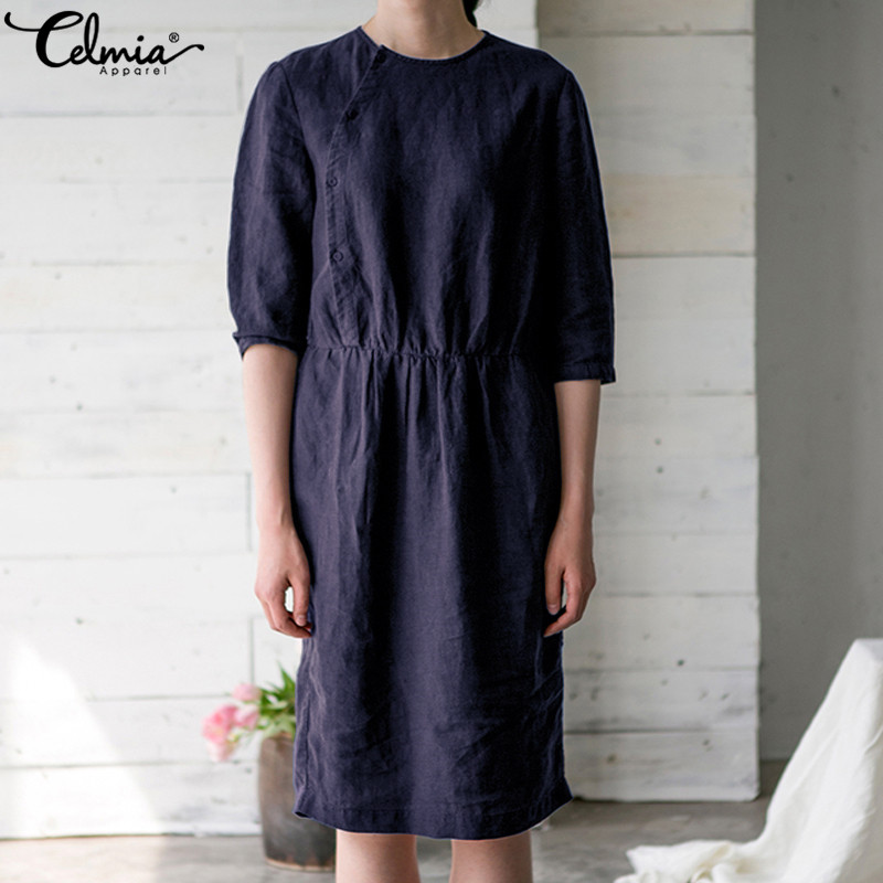 Celmia 2018 Summer Dress Women Vintage Tunic Tops Casual Loose Elastic Waist Soild Buttons Cotton Linen Vestidos Robe Plus Size