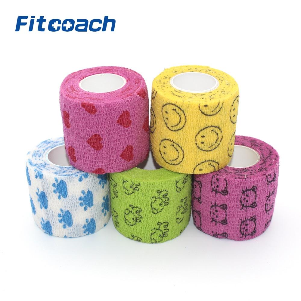5cm x4.5m Cohesive Bandage - Självhäftande Medicinska Athletic Elastic Gauze Tape