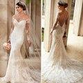 2016 Lindo Vestido De Casamento do Querido Chiffon Da Sereia vestido de Noiva de Volta Botão Tribunal Trem Até O Chão de Casamento Desgaste