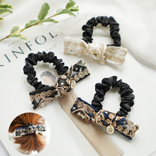 Korea  Gold Lace Embroidered Bow  Elastic Hair Bands  Elegant Hair Accessories For Girls Rubber Band Gum For Hair Tie For Women