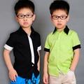 2016 Nueva Solid Niños de Manga Corta Camisas de Los Niños de Primavera y Otoño de Apertura de cama abajo camisa camisa de los niños 4 colores fashion boy clothing menino