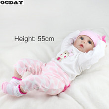 55CM Soft Vinyl Reborn Baby Dolls Handmade Design Cloth Body Silicone Lifelike Alive Babies Doll Toys For Kids Christmas Girls