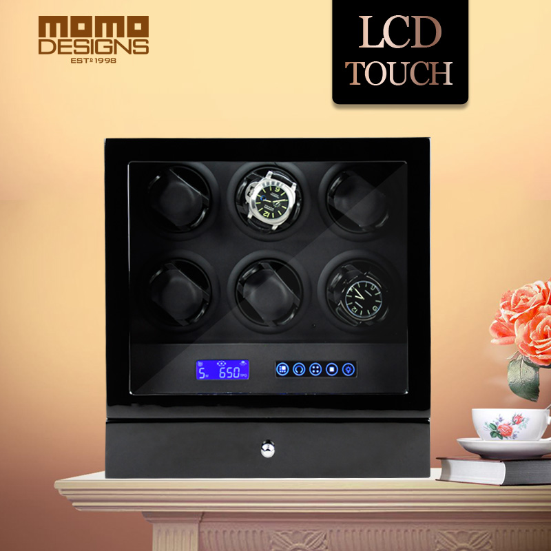 HOTSALE Luxury Watch winder automatic watch display for 6 watches with LCD control/Door switch function/LED light/Remote control watch winder lt wooden automatic rotation 2 0 watch winder storage case display box white