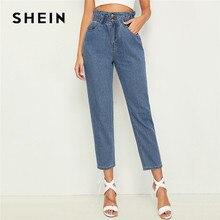 Женские укороченные зауженные джинсы SHEIN с оборками на талии 2019 повседневные синие джинсы с высокой талией укороченные джинсовые брюки с эластичным поясом женские джинсы