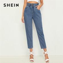 Shein plissado cintura colheita afilado calças de brim mulher 2019 casual azul cintura alta calças de brim cintura elástica colheita calças de brim das senhoras