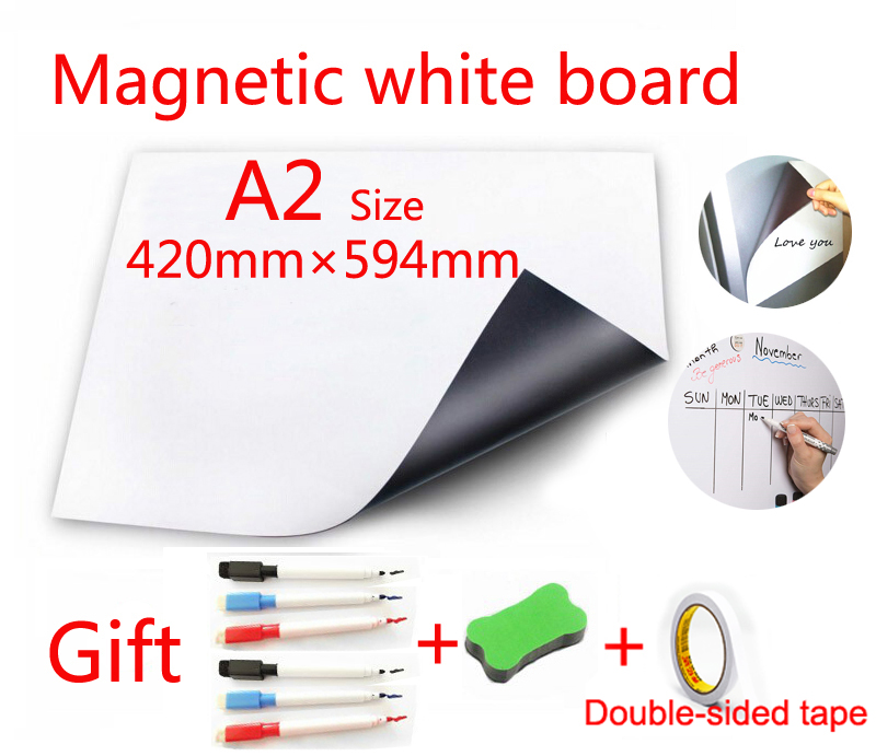 A2 Size Soft Writing Message Board Fridge Sticker Magnetic Whiteboard With Double-sided Adhesive Free Paste Gift Pen Eraser