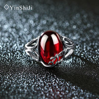YinShiJi Vintage 925 Sterling Silver Rings Dragonfly Design Retro Thai Silver Red Blue Stone Jewelry For