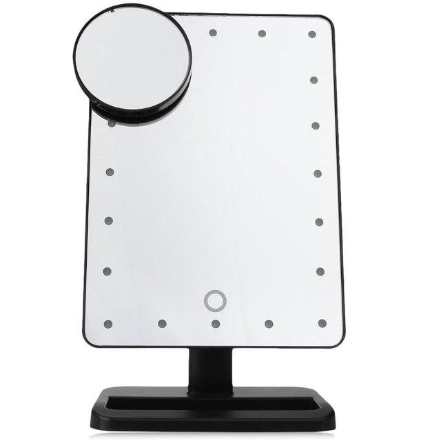 Ajustable Lámpara de Mesa Tocador 20 Led Iluminado Pantalla Táctil LED Luminoso 180 Espejo Giratorio Espejo de Maquillaje Espejo Portátil