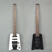 Headless Electric Guitar Matte Black White Colors 6 String Basswood GT PRO Portable Travel Accept Custom Any Style Tuner