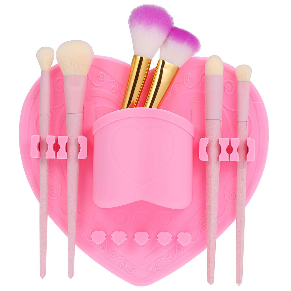 Heart Silicone Makeup Drying Rack Cosmetic Brush Holder Bathroom Access