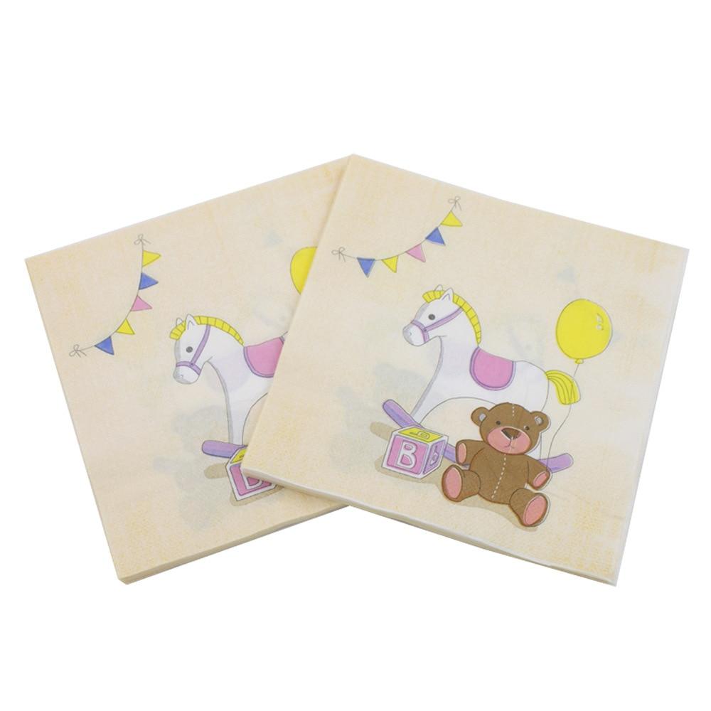New Bear Horse Cartoon Paper Napkins Children Birthday Party Tissue Napkins Decoupage Decoration Paper 33cm*33cm 20pcs/pack/lot
