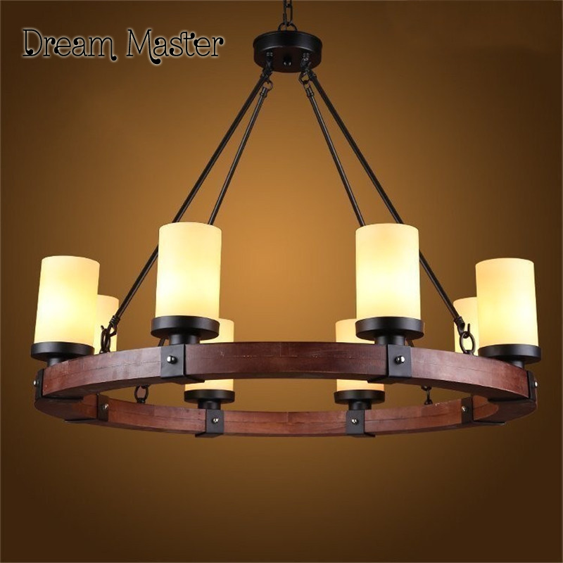 American Country Villa Living Room Chandelier Candlestick Round Old Wooden Retro Creative Free Shipping