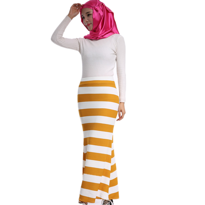 Chiffon Linen Maxi Skirts For Women Striped Brand Fashion Striped Muslim Vintage Loose Long Skirt In Ethnic Mermaid Style