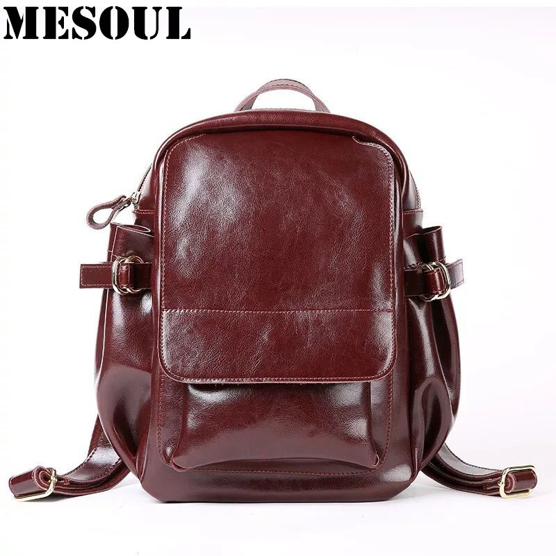 Classic Vintage Backpack Women 2017 Bag Oil Wax Cowhide School Bags For Teenagers Girls Fashion High Quality Travel Backpacks new gravity falls backpack casual backpacks teenagers school bag men women s student school bags travel shoulder bag laptop bags