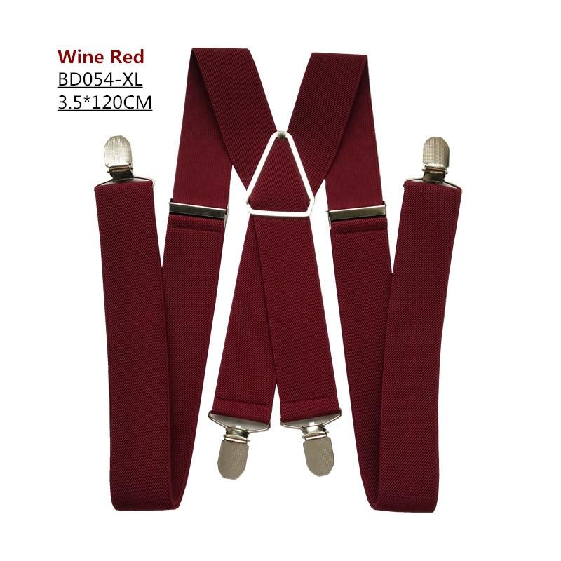 Одноцветные подтяжки унисекс для взрослых, мужские XXL, большие размеры, 3,5 см, ширина, регулируемые эластичные, 4 зажима X сзади, женские брюки, подтяжки, BD054 - Цвет: Wine red-120cm