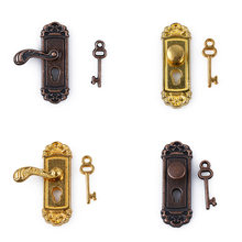 Cute Vintage Funny 1/12 Scale Dollhouse Miniature Door Lock and Key Doll House Fairy Mini Door Retro Metal DIY Accessories(China)