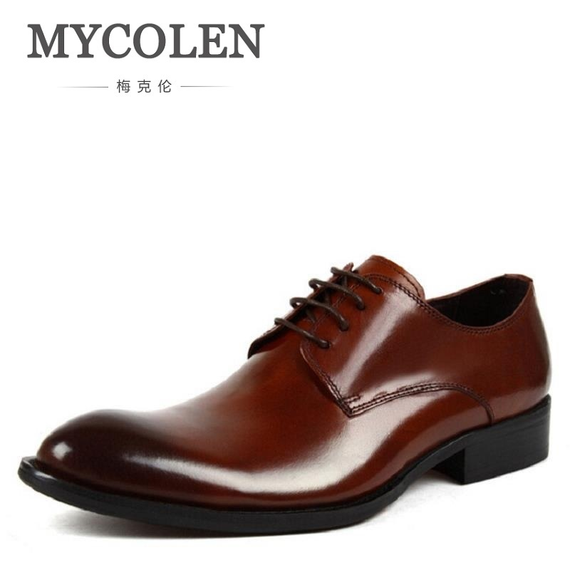 MYCOLEN Brand Pointed Toe Mens Oxfords Formal Shoes Leather Men Dress Shoes Business Men Flats Wedding Shoes tenis masculinosMYCOLEN Brand Pointed Toe Mens Oxfords Formal Shoes Leather Men Dress Shoes Business Men Flats Wedding Shoes tenis masculinos