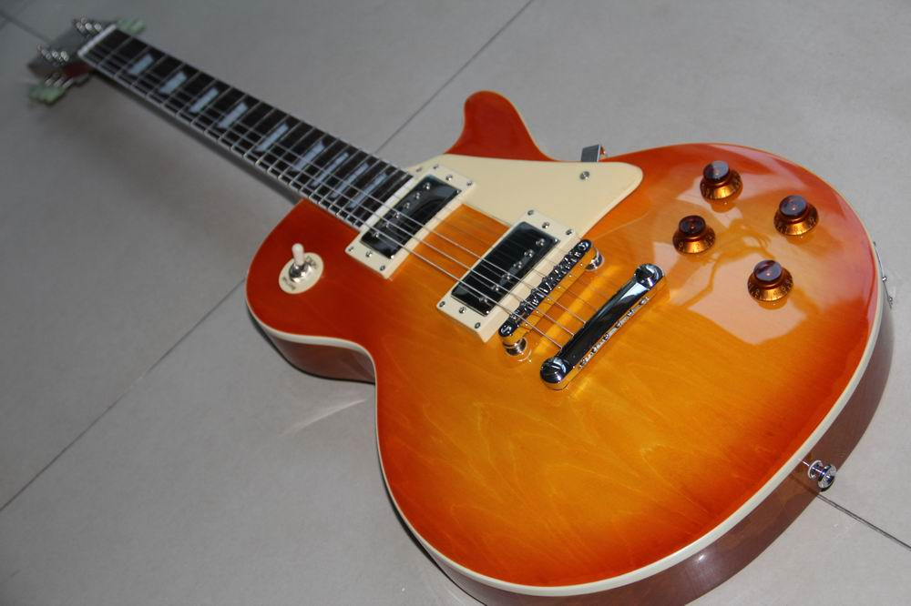 New 1958 les Reissue electric guitar,Aged Vintage Cherry Sunburst paul guitar,Original bridge 120818 new chibson les standard electric guitar ebony fretboard fretside binding paul in vintage sunburst 141105