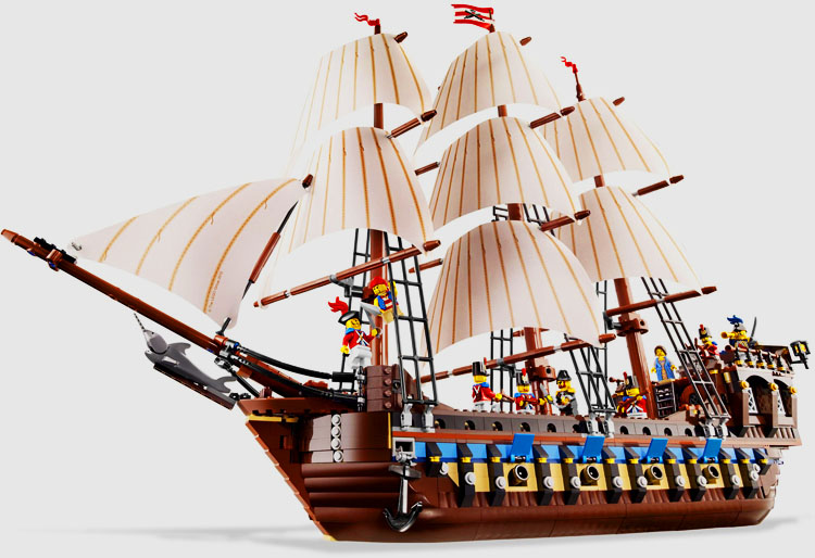 LEPIN 22001 1717pcs Movie Series Pirate Ship warships Model Building Block set Brick Educational Toy For children Gift 10210 new lepin 22001 in stock pirate ship imperial warships model building kits block briks toys gift 1717pcs compatible legoed 10210