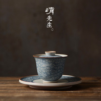 Jingdezhen pure ceramic green flower cover bowl hand painted green flower antique tea set three only cover bowl large tea cup
