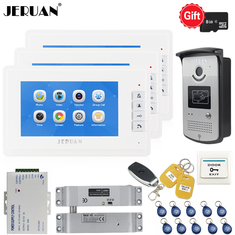 JERUAN 7`` LCD Color Video Door phone Doorbell Voice/Video Recording Intercom system kit 3 Monitors + RFID Access IR Camera 1V3 jeruan 7 video door phone record intercom system 3 monitors 700tvl rfid access ir night vision camera electric drop bolt lock