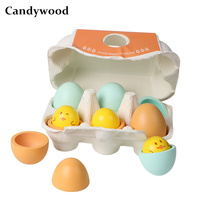 Candywood 6pcs/Set Fun cute Kitchen Food chick egg Duck eggs Kitchen toys Baby Kids Pretend Play Toy for Girls Children Boy gift