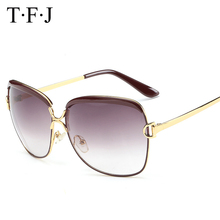 TFJ 2016 New Ladies luxury Sunglasses Womens Glasses female famous brand Fashion Brand Designer Metal Frame UV protection Sun