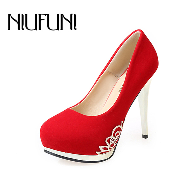 40f67f19cc5d Red Black High Heel Suede Pumps Round Toe Comfort Dress Platform Shoes Slip  On Party Wedding Ladies Night Club Zapatos Tacon