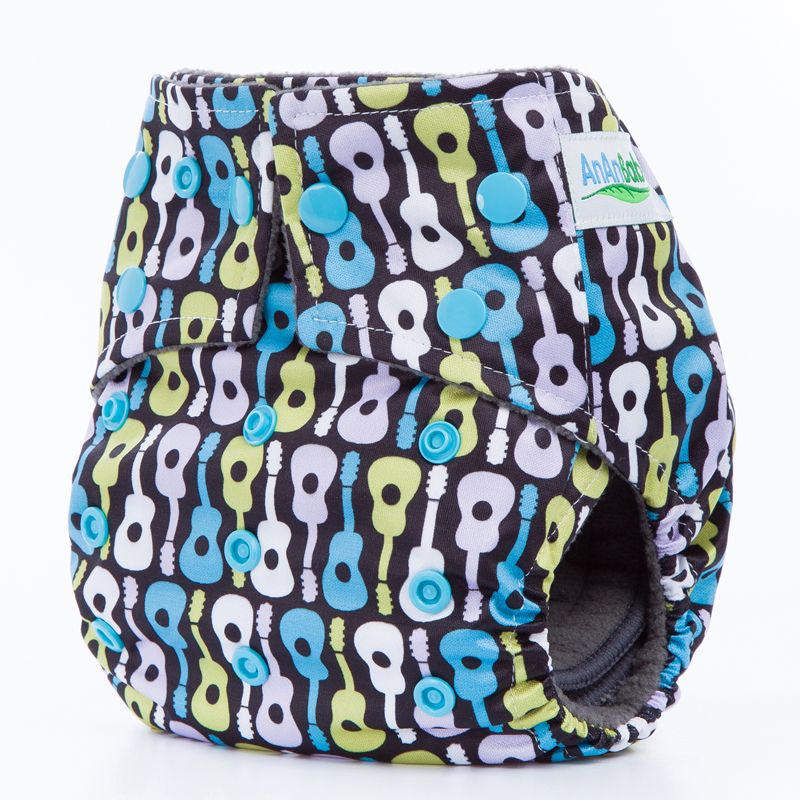 Reusable Bamboo Charcoal Cloth Diaper Eco-Friendly Washable Nappy Square Tab With Double Gussets Color Snaps CM Series
