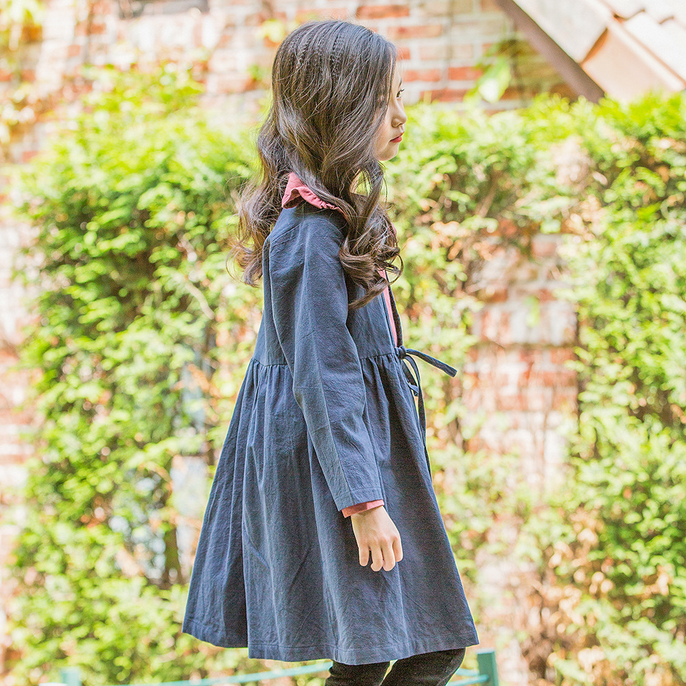 2018 korean style girls cotton dress solid color full sleeve kids girls dresses teenage girls clothing 6-12t