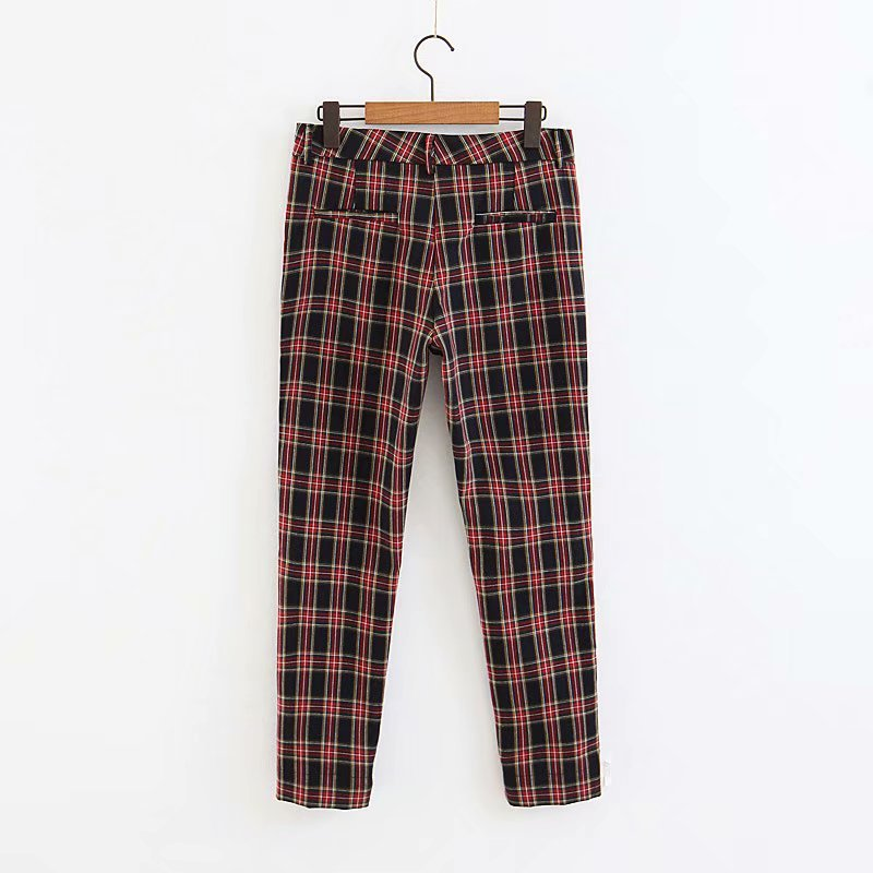 2018 Women Red Plaid Pants British Style Retro Vintage Checker Pattern Trousers 3