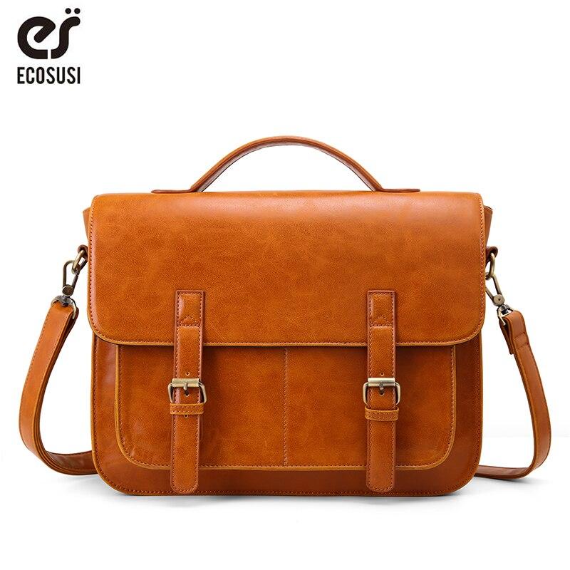 ECOSUSI 14.5 Inch Men Laptop Bags Brand Messenger Bags Men's Briefcases Office Crossbody Bags  Men PU Leather Bags Shoulder Bags
