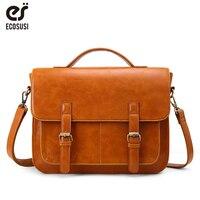 ECOSUSI PU Leather Shoulder Bags for Men Retro 14 Inch Laptop Messenger Bags Vintage Shoulder Briefcase for Work