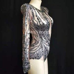 Image 3 - زي تنكري أسود لامع عاري لباس تنكري للحفلات للاحتفال بأحجار الراين سترتش يوتار لمرحلة الرقص Y52