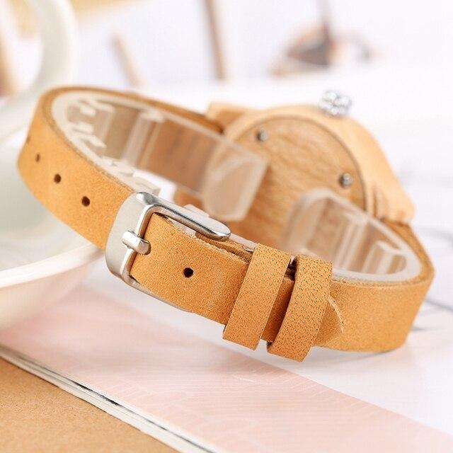 Reloj de madera mujer colores pulso cuero 2
